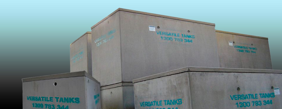 Versatile Tanks in concrete stacked on top of each other