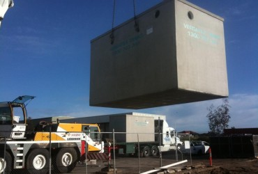 Craning in a concrete tank