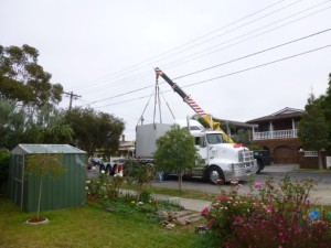 Water tank being delivered