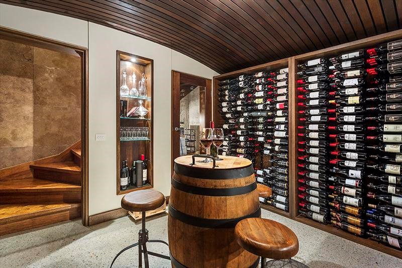 Wine Cellar with built in bar in California