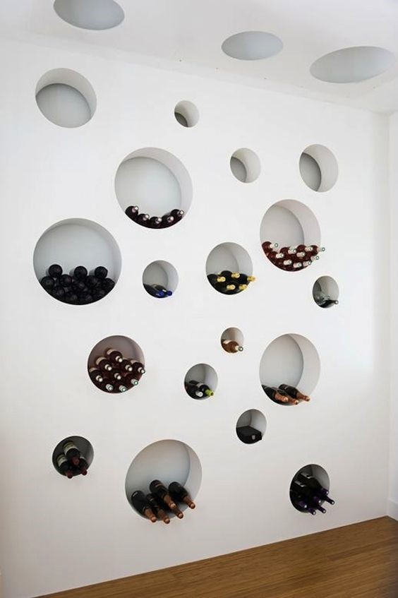 Contemporary hole in wall wine cellar solution
