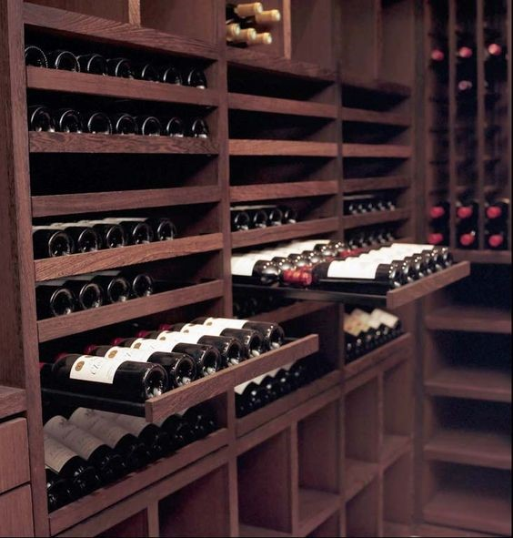 Wine cellar drawers storage solutions