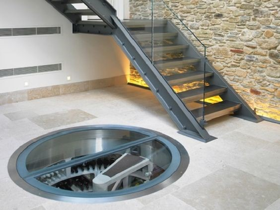Transparent wine cellar design