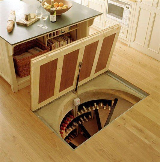 James-Bond inspired trap door wine cellar